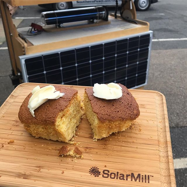 Happy Summer Solstice!! ☀️🌽🍞 #solarcooking #solarmill #solarcornbread