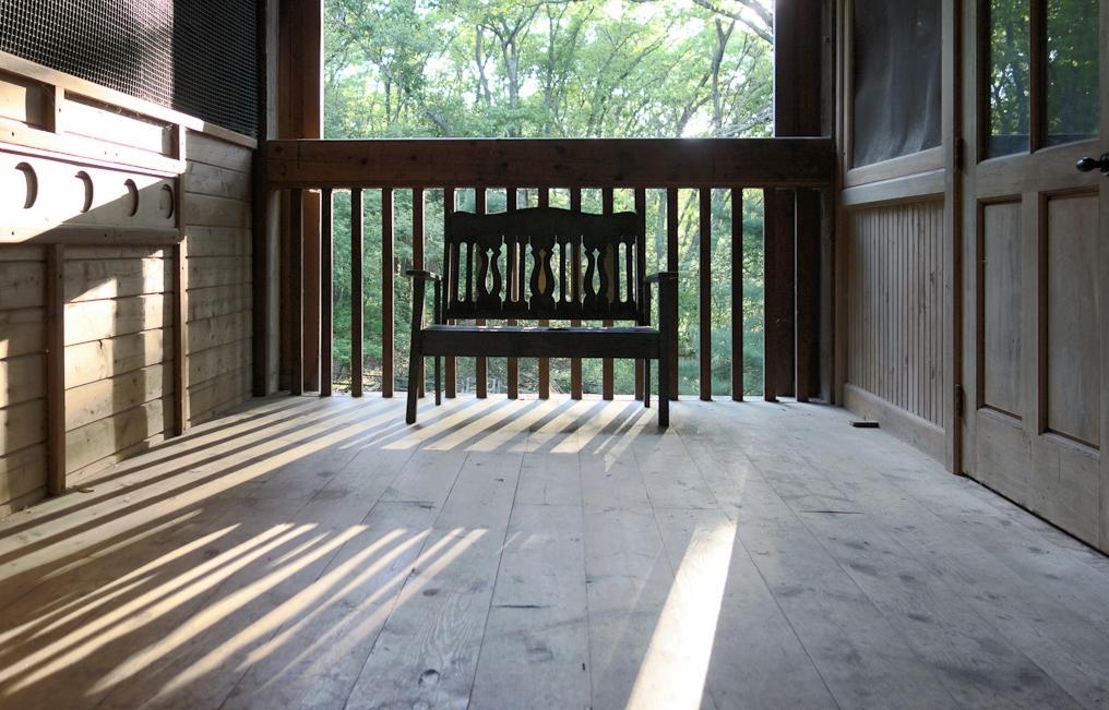 bench in barn