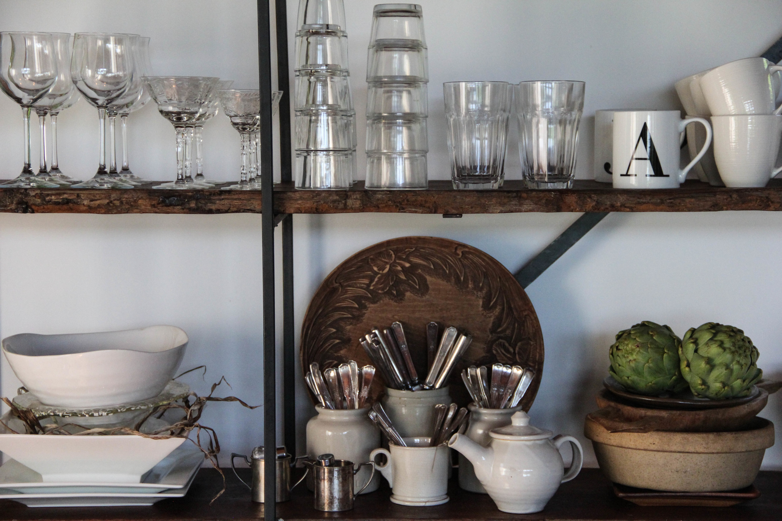 open shelving for dishes
