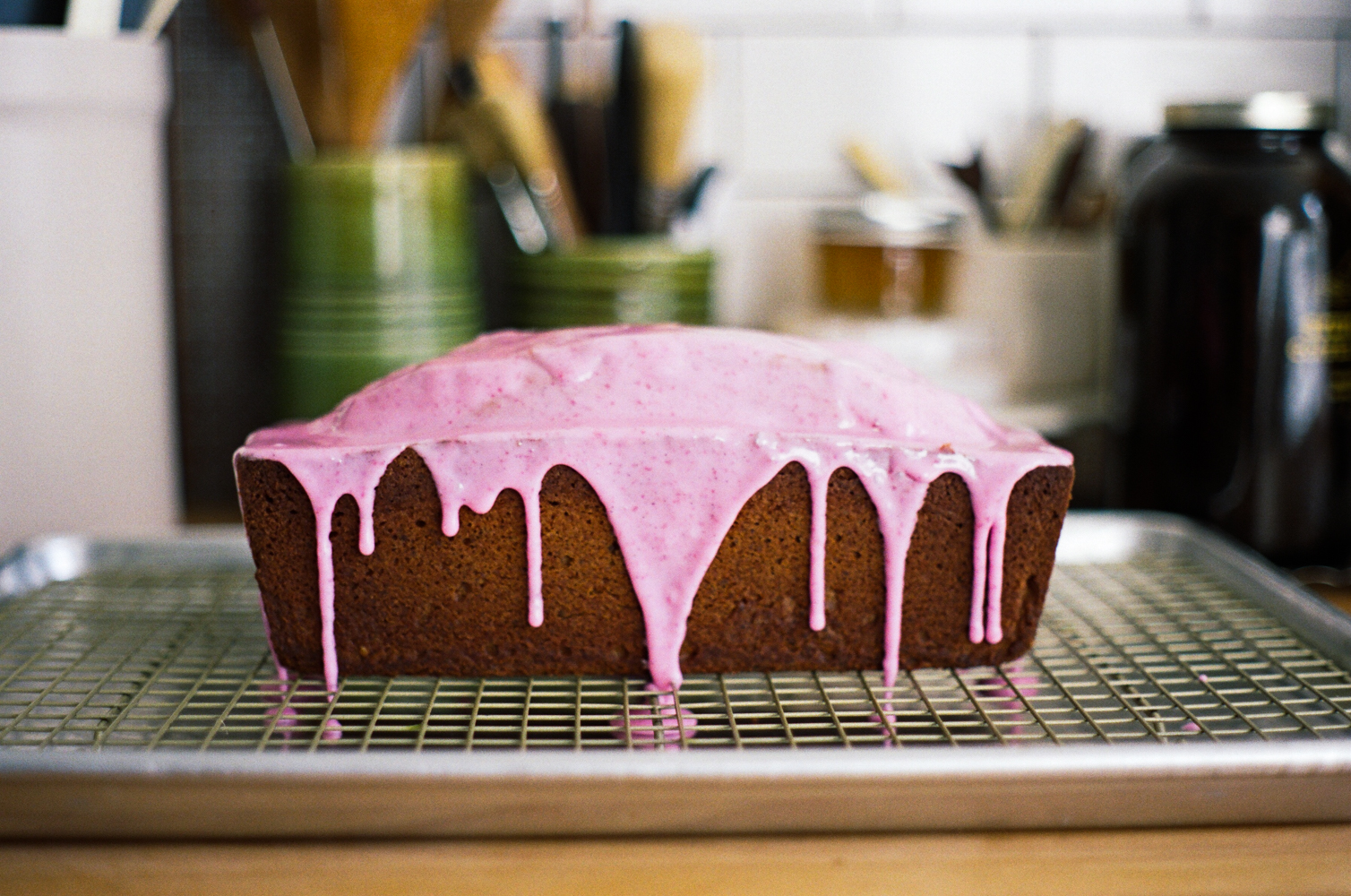 walnut cake with beet tinted glaze | apt 2b baking co