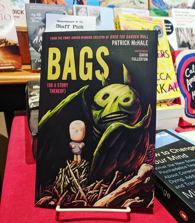 "Staff Pick Saturday! This week the choice is the graphic novel Bags by Patrick McHale, the Emmy award-winning creator of Over the Garden Wall!  Staff member Kashya says ""Wow. What a great look at friendship & loss. Really beautiful & touching."""