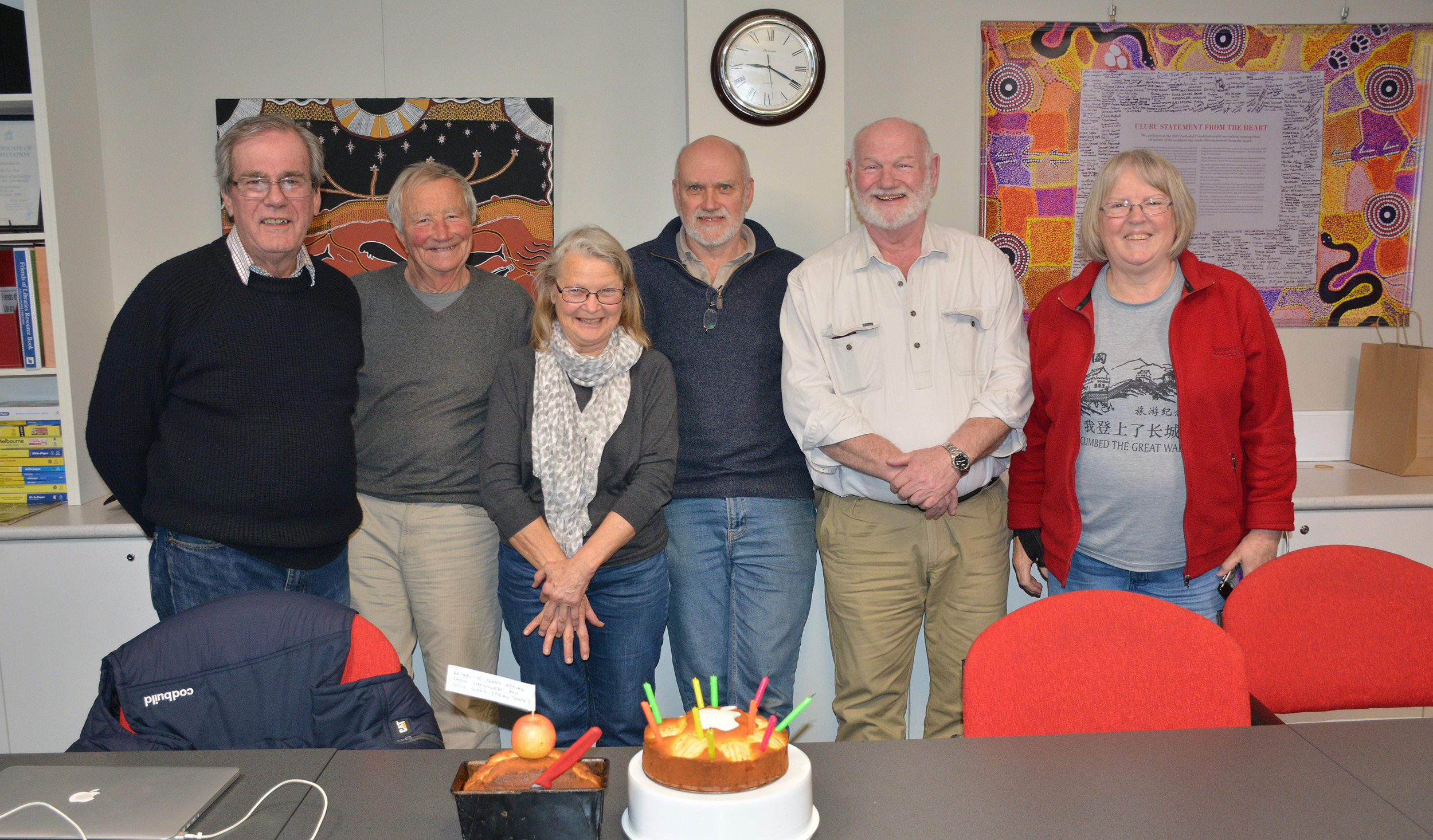 eMug celebrated 10 years this July since our first meeting in 2009. Paul, Wolf, Sue, Peter, Errol and Mem about to enjoy some Apple cakes! Photo by iChaz