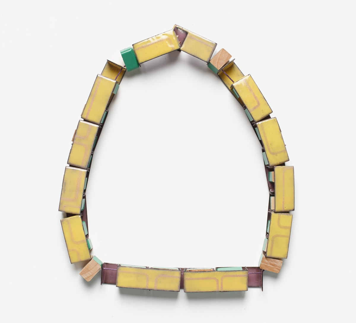 Interlocking Train , front view,   2013.   Deconstructed wooden block toy, copper, enamel, thread.  Photo by Jeremy Dillon.