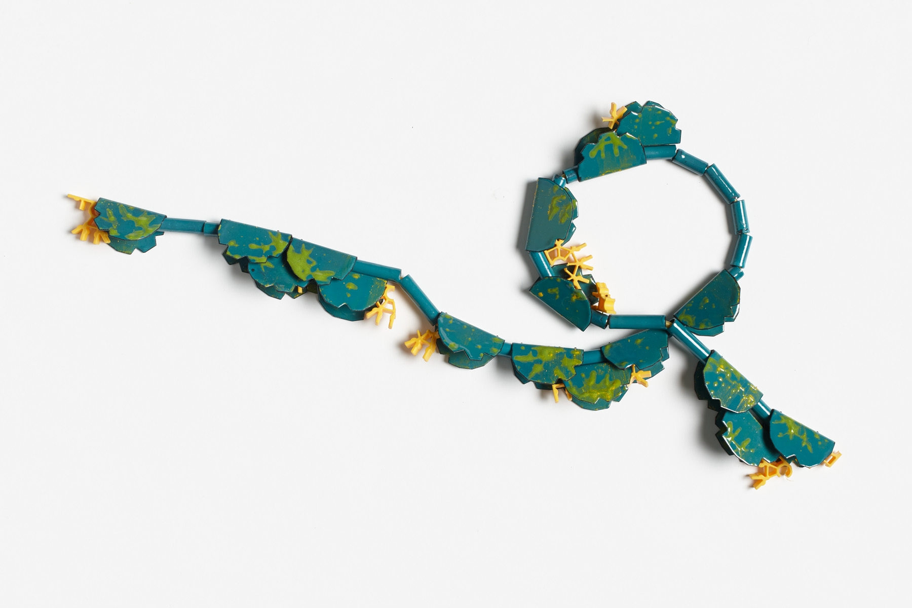 Seasnake , 2013.   Deconstructed K'nex parts, mild steel, enamel, rubber thread.  Photo by Jeremy Dillon.
