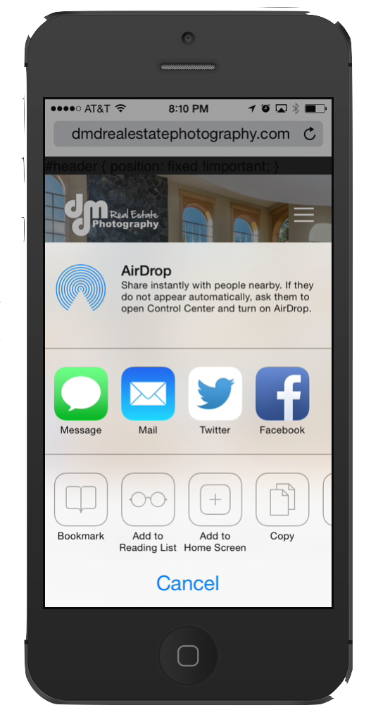 Click on share button to add to home screen