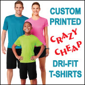 Custom printed dri-fit t-shirts