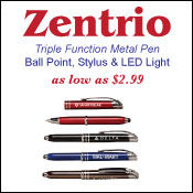 Sale! Zentrio, ball point, stylus, LED light, metal pen. As low as $2.99