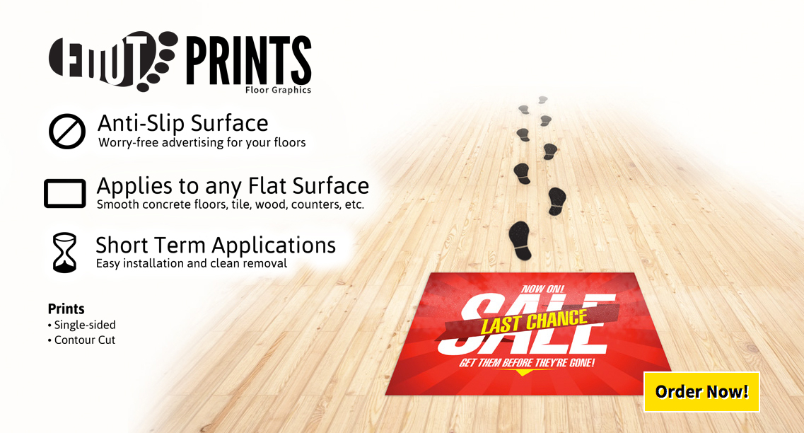 We print Adhesive Floor Graphics in Full Color