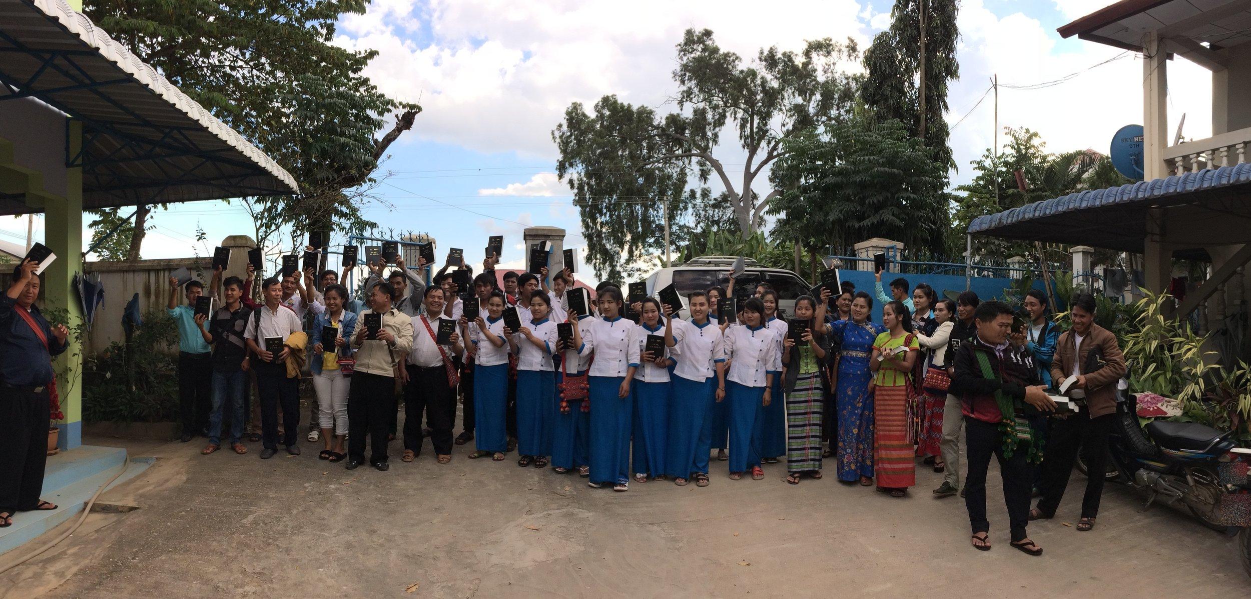 Photo: Lahu Christians receive thier Bibles.
