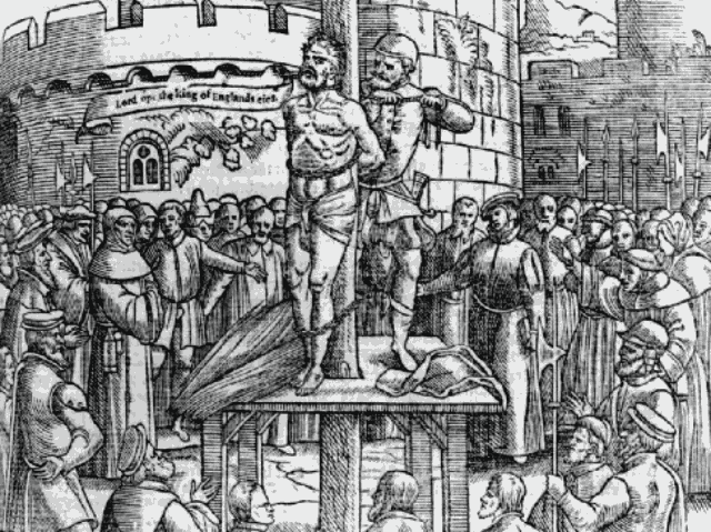 William Tyndale, being strangled before being burnt at the stake in Vilvoorde, Belgium [Public domain], via Wikimedia Commons.