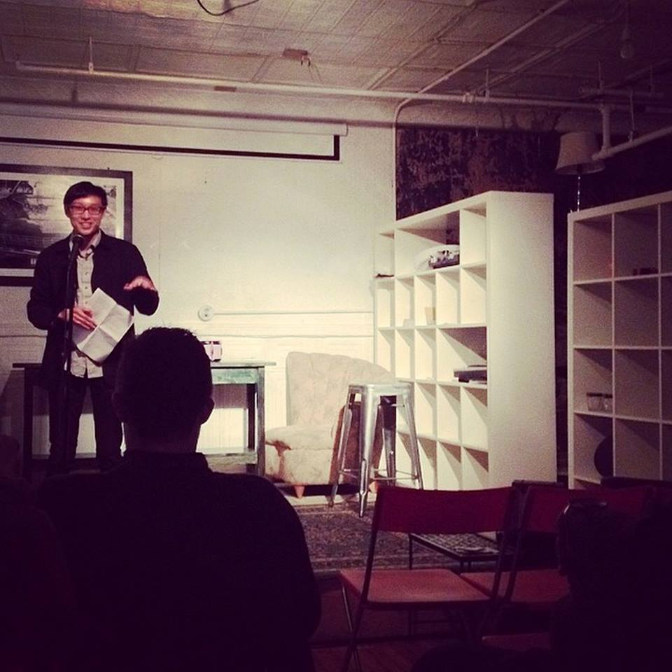 A photo of Kevin Nguyen reading at the very first Difficult to Name Reading a year ago. He'll be reading at the  April 25 edition at Brit Pack .