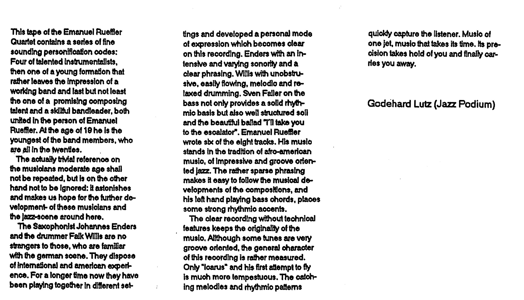 Quartet 718 Liner Notes by Godehard Lutz