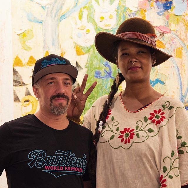 @bealovernyc and @woodruffmurky ... out and about at #bushwickopenstudios .. repping the @buntonsworldfamous outfit in front of a painting by @ayanekurai ...meeting of the minds, you dig. . #music #art #bushwick #party #vibe #hanging #afrofunk #doomsoul