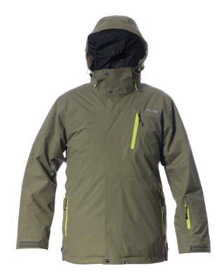 Telluride Men's Jacket - Khaki / Lime Zips