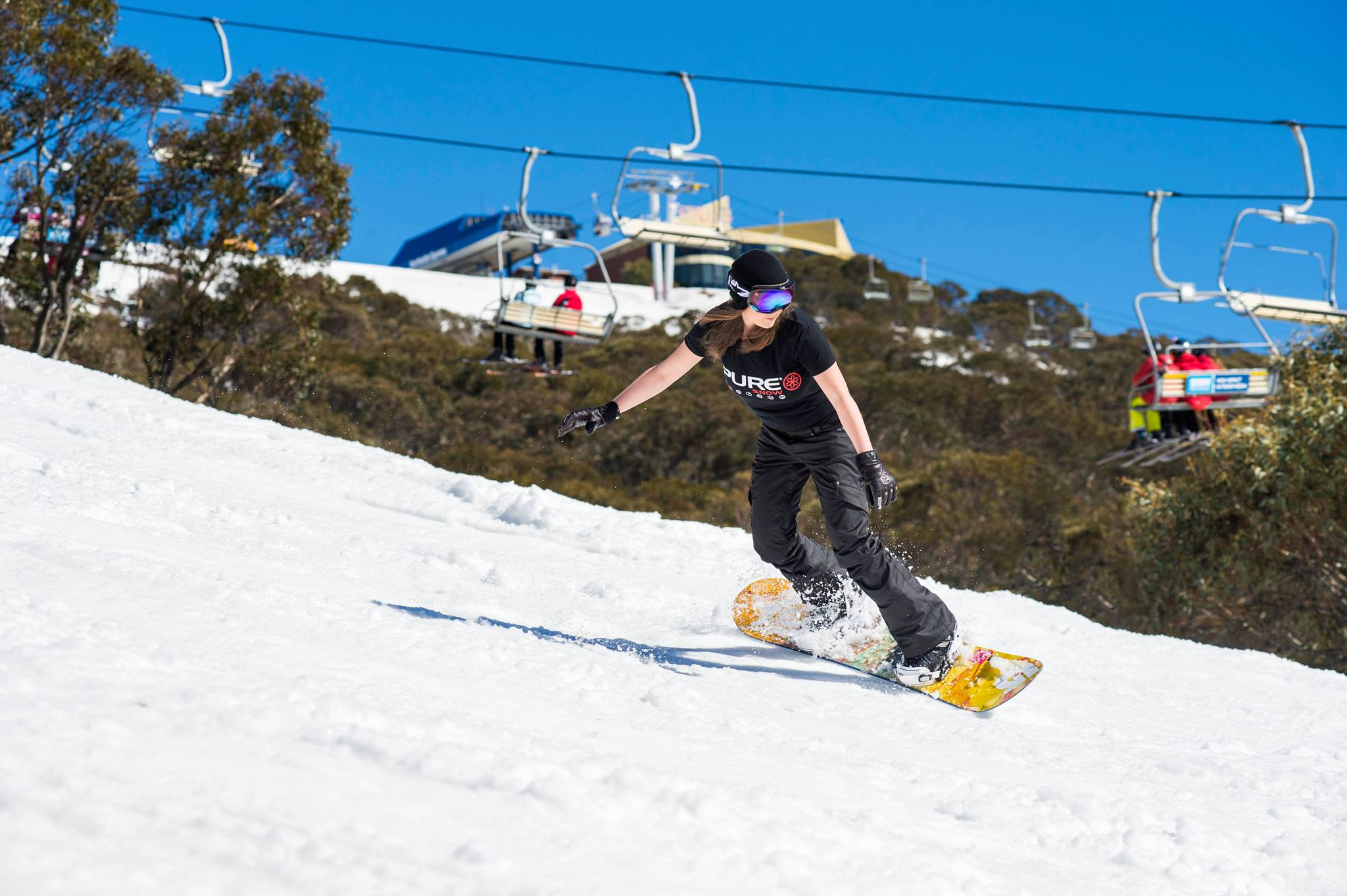 Mt Buller rider sporting our Pure Snow t-shirt