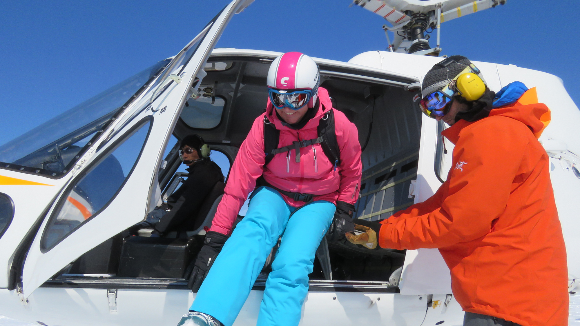 Heli skiing on Shiribetsu. It was great wearing stretch fabric to make getting in and out of the helicopter easier. Not sure why the guide thought I wanted to hold his hand?!