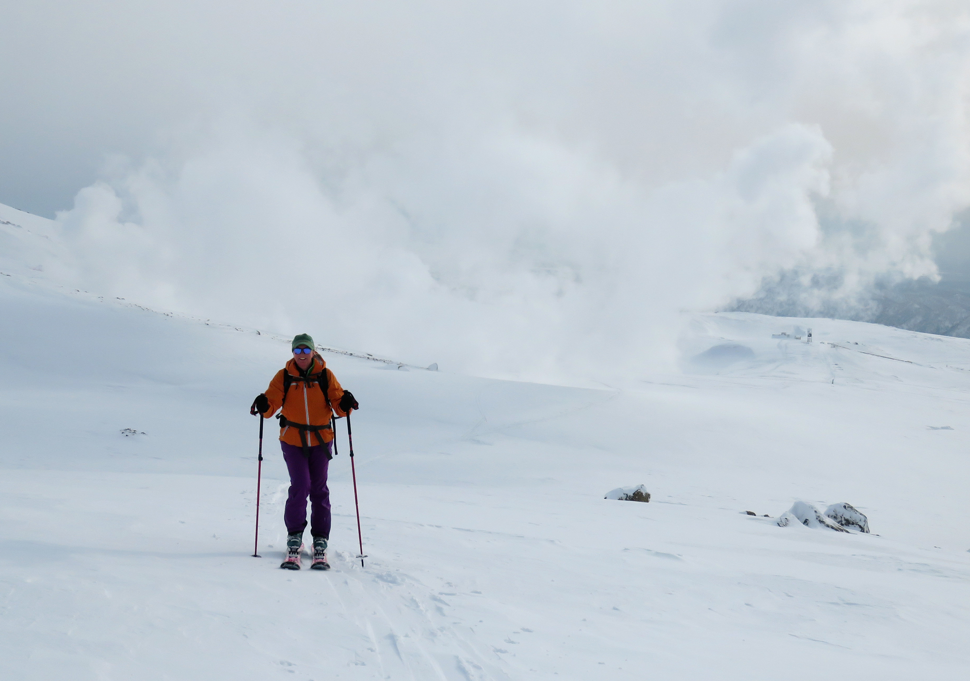 Skinning away from one of the stinky fumaroles at Asahidake.