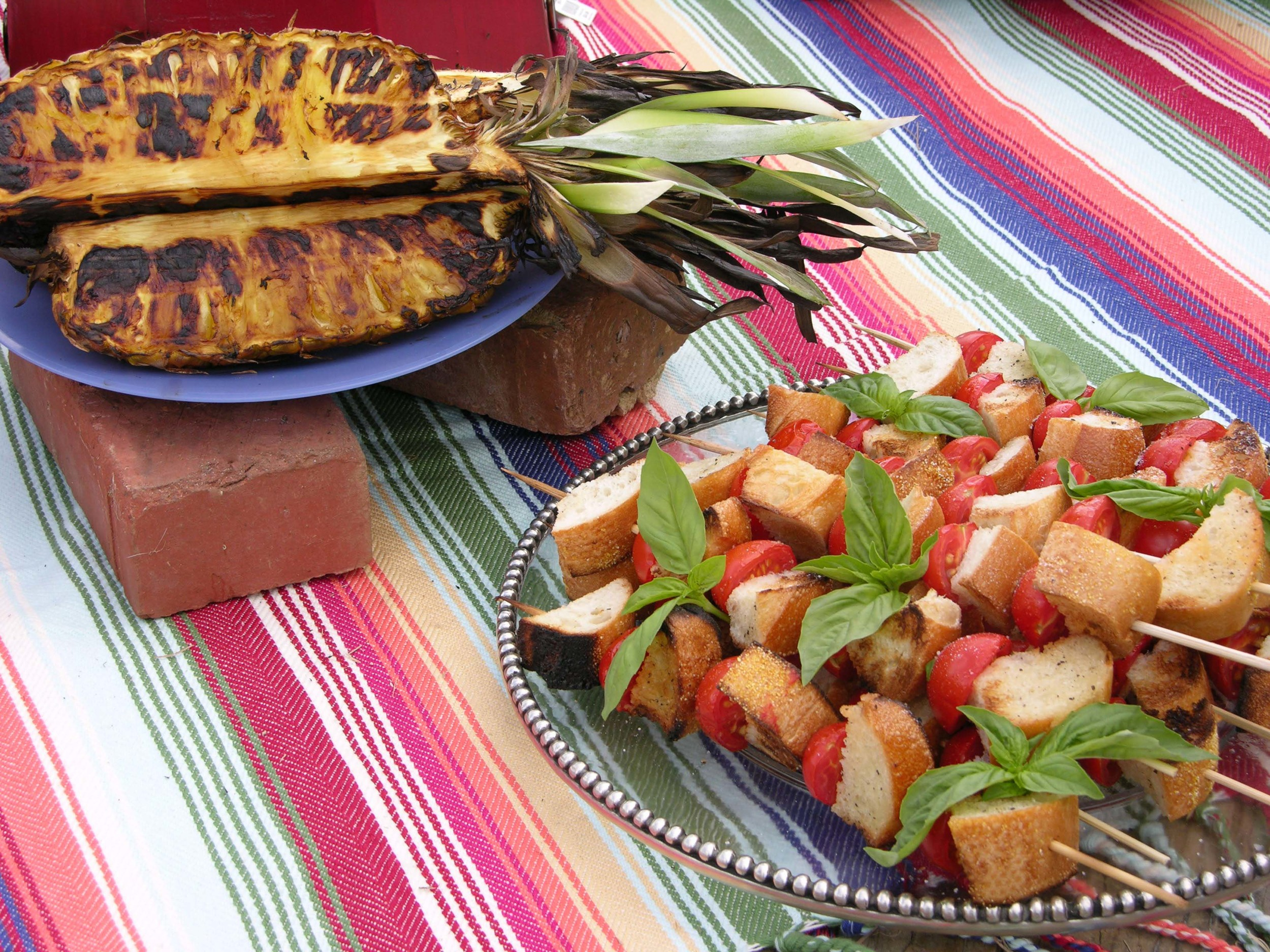 Grilled Pineapple and Grilled Caprese Skewers