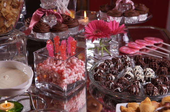 MAKE A LUSH CANDY DISPLAY OF HOMEMADE CHOCOLATE TREATS PLUS FAVORITE CANDY IN YOUR PARTY COLORS