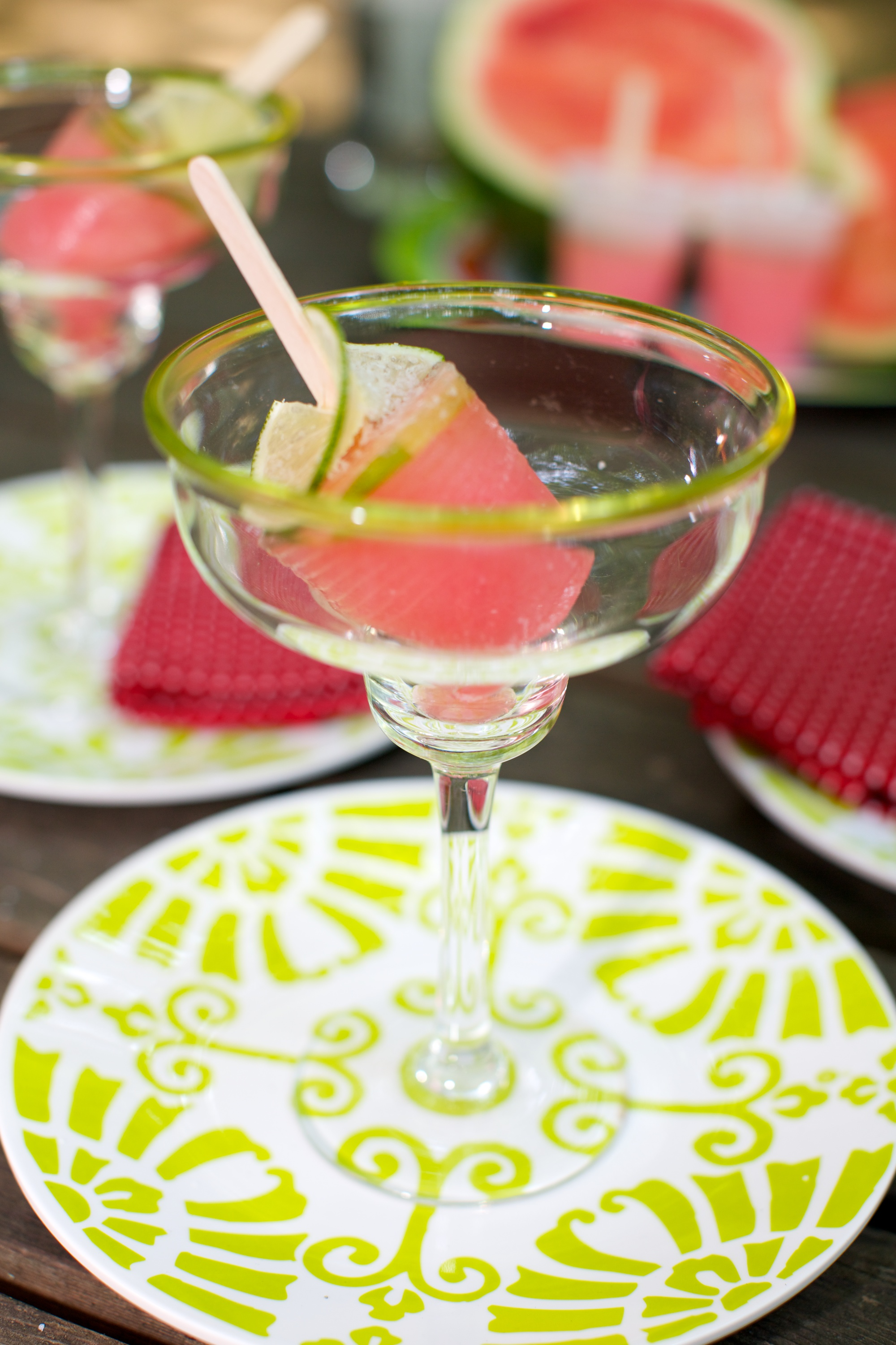 For your next Girls Night party, make my Watermelon Margarita pops and serve in a pretty glass with a shot of chilled tequila over the top.
