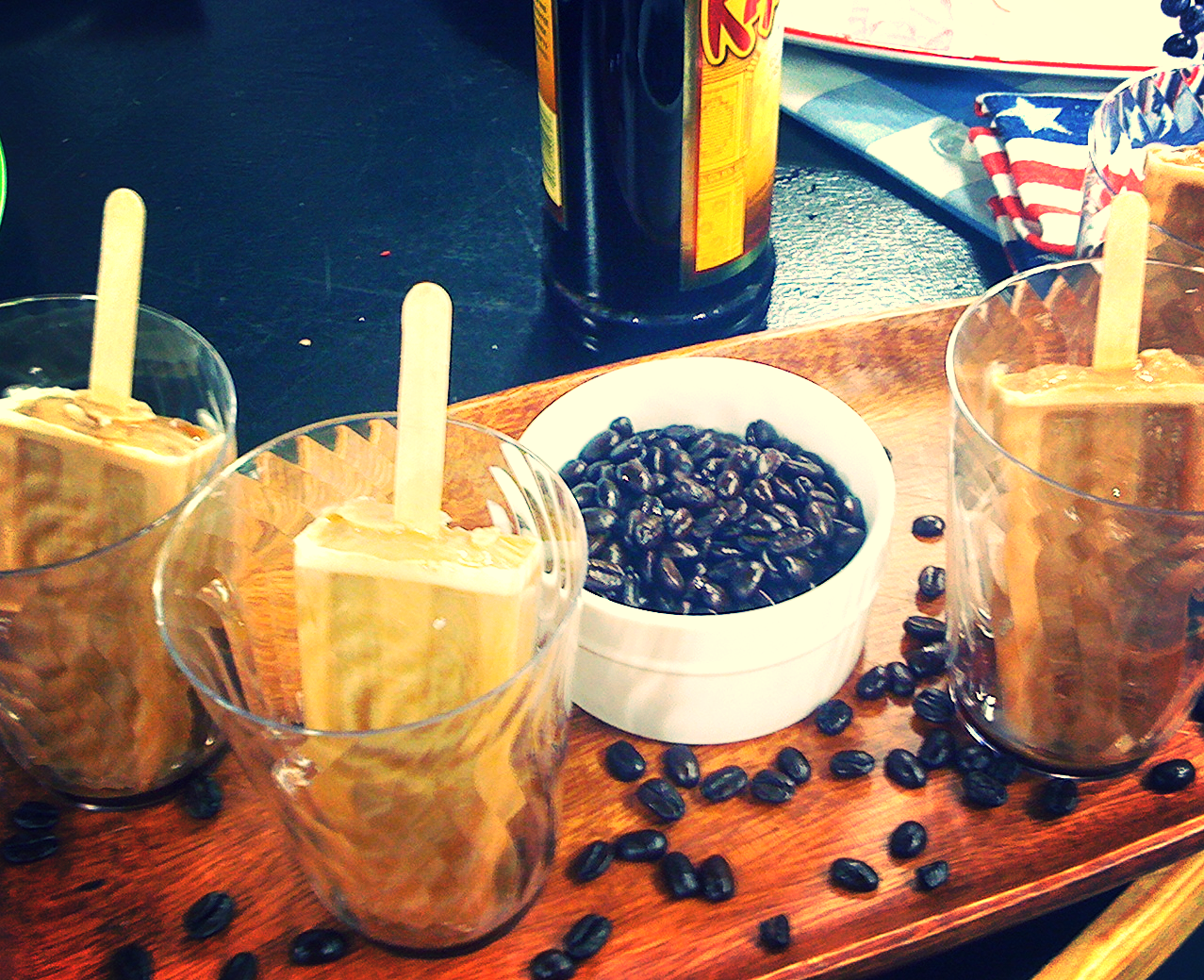 You can make a delicious grown up treat by pouring chilled Kaluha over Mocha Coffee Pops!