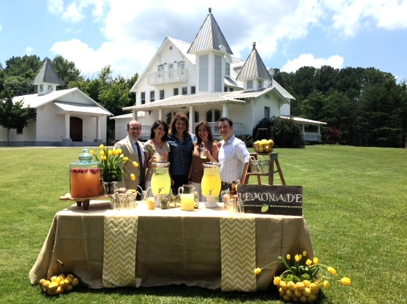 At The Sonnet House in Leeds, Alabama with my good friends Jared and Corey. Corey created the lovely table with tulips, lemons, and yellow and white chevron runners and I made the lemonade!