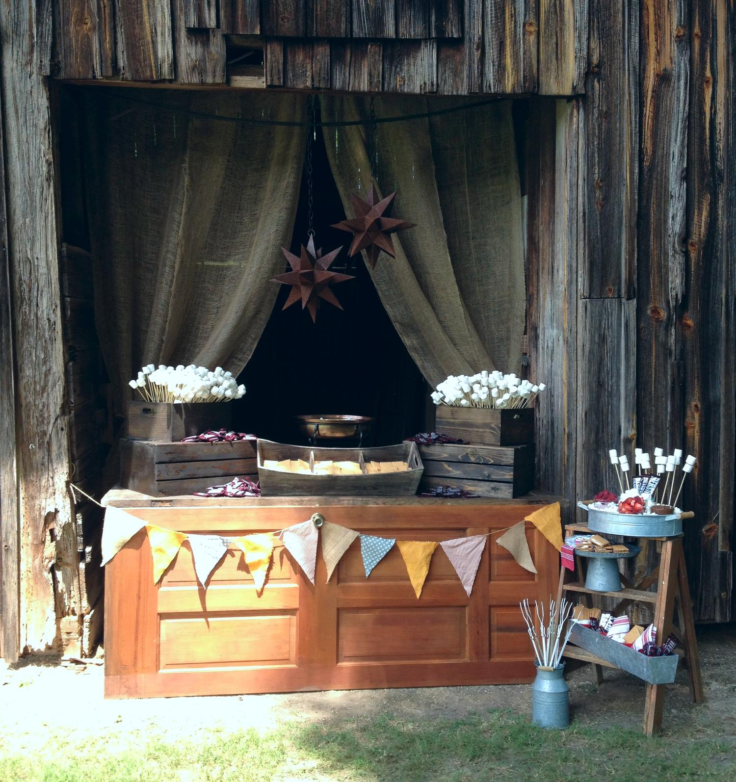 Createa S'mores Bar for a party, wedding, or simple backyard fun...