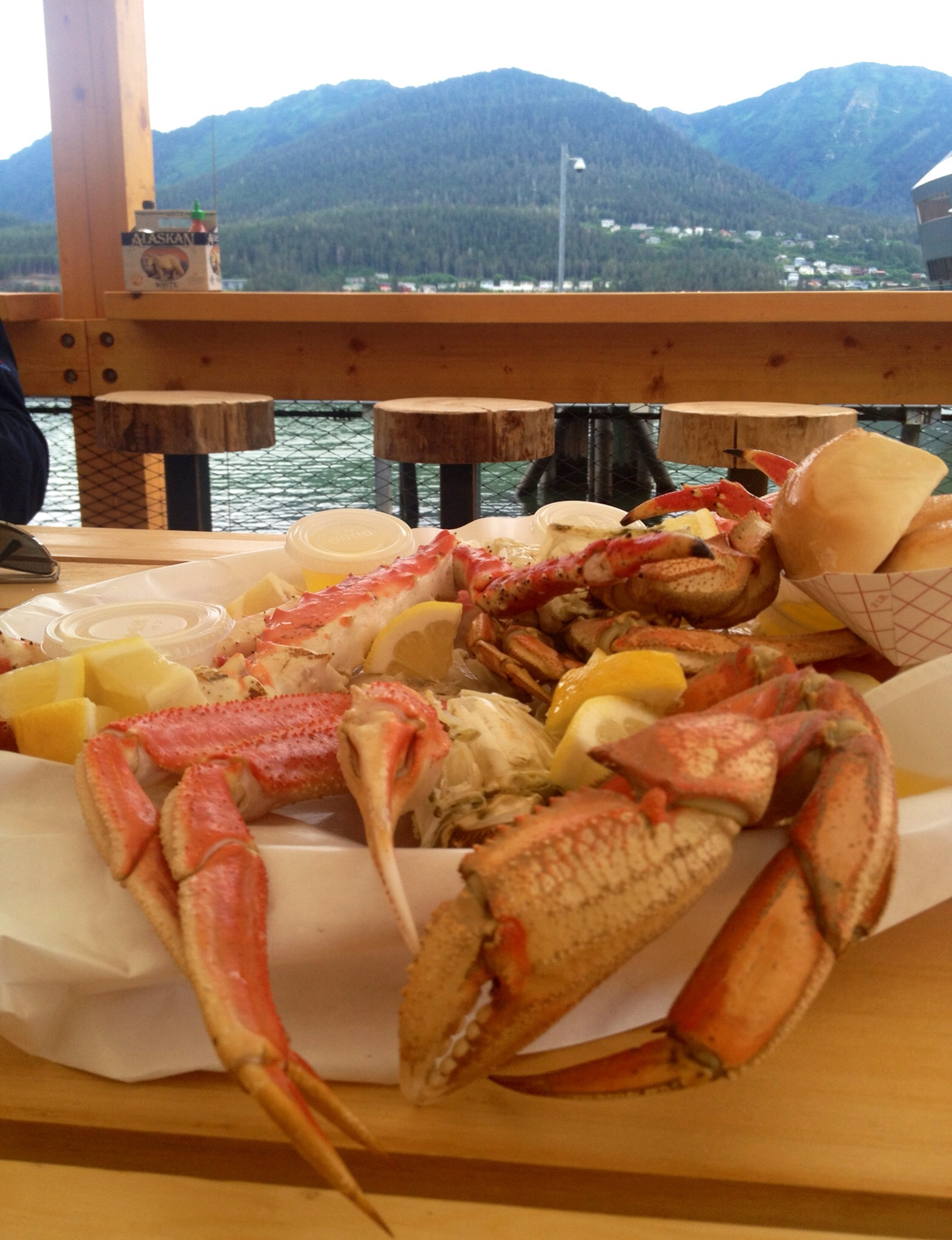 Dinner and a view... Tracy's King Crab Shack in Juneau is a don't miss experience. You will not find crab like this anywhere else. We even got to try fresh King Crab...