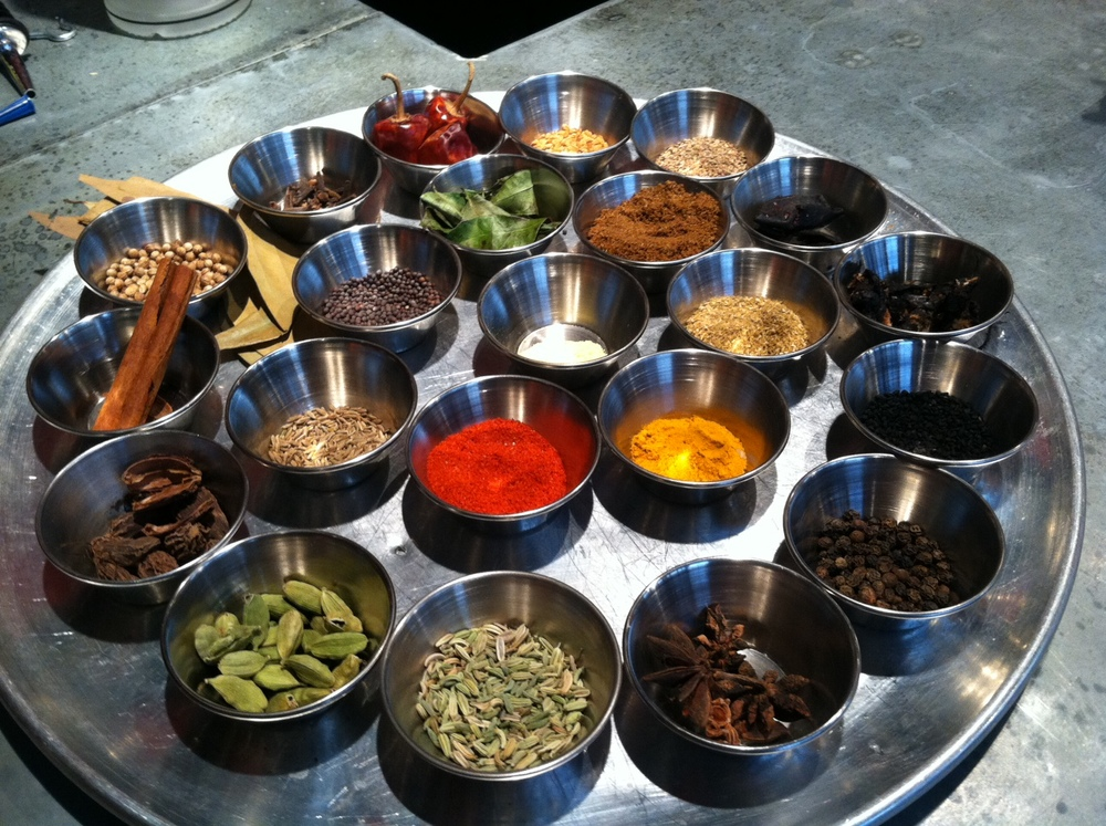 If you saw the movie The 100  Foot Journey with Helen Mirren, you will certainly understand why I'm fascinated with Indian spices and this photo from Saffron!