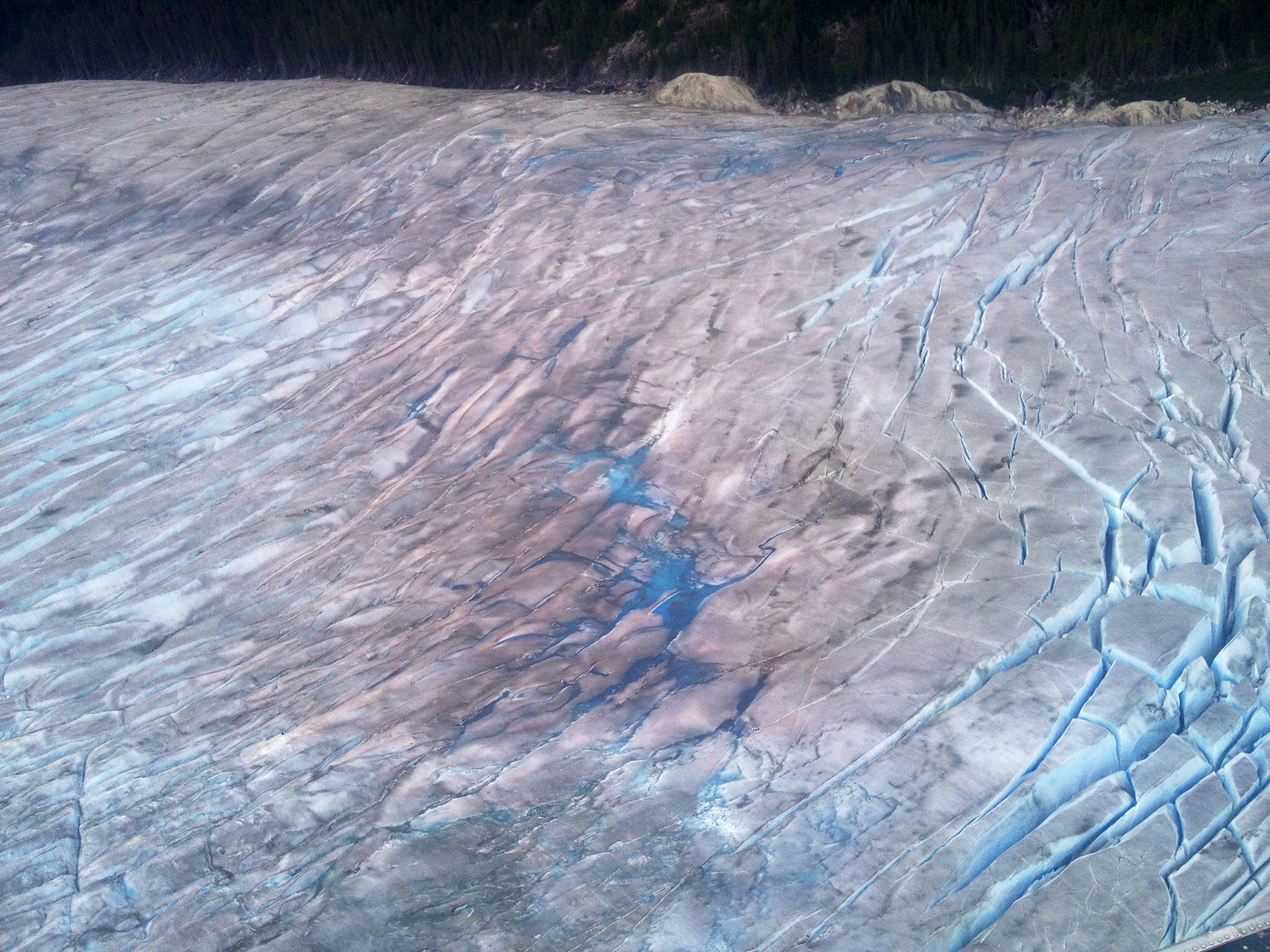 Juneau Ice Field: You can easily see the difference in the blue color. The color fades and oxidizes once the crystals are exposed to air.