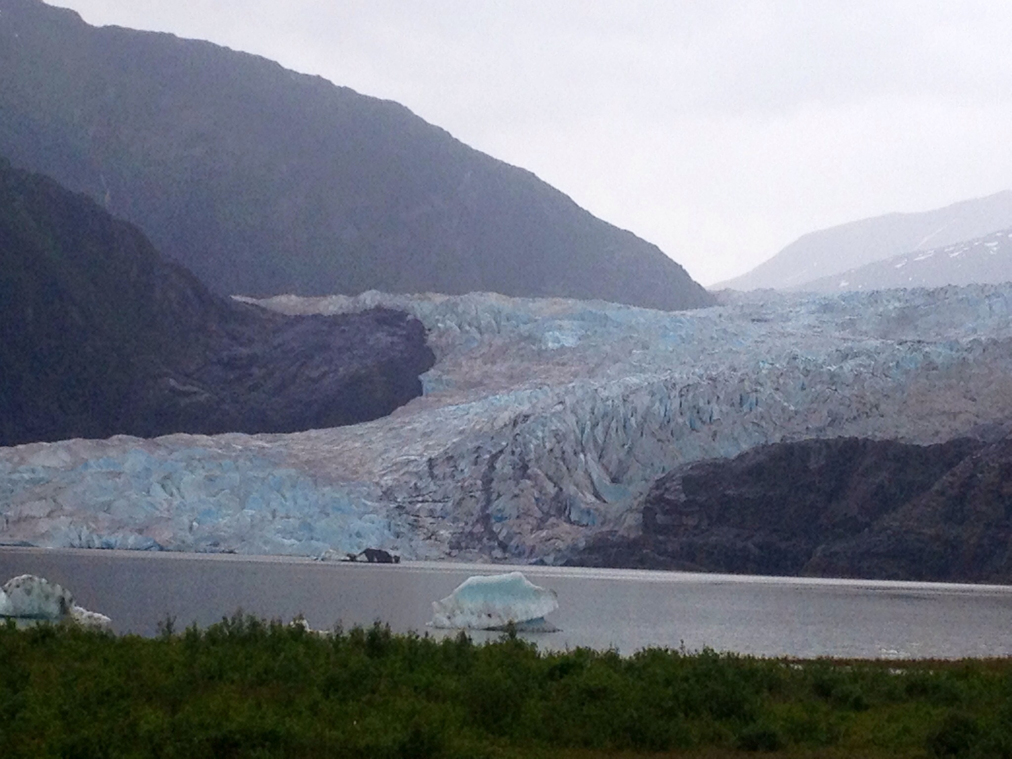 The view of the Mendenhall Glacier from park's viewing area.