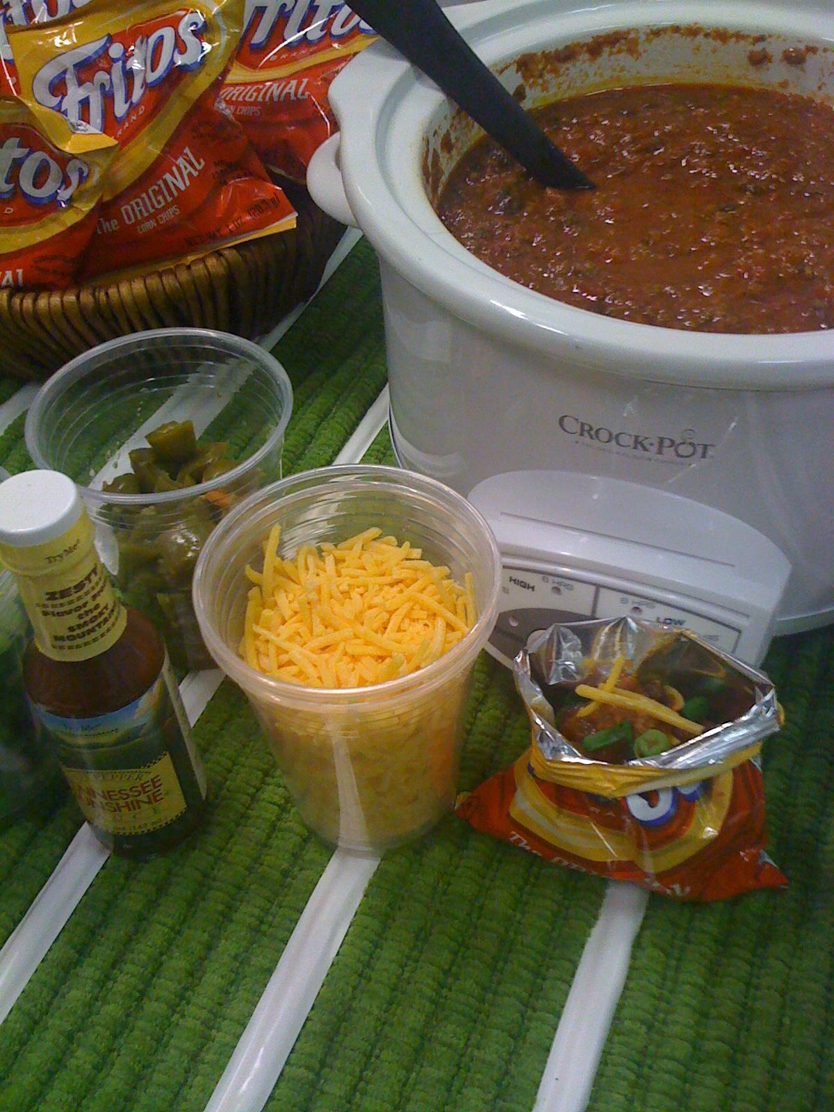Serve your chili in individual Frito or Dorito bags... delish and no dishes!