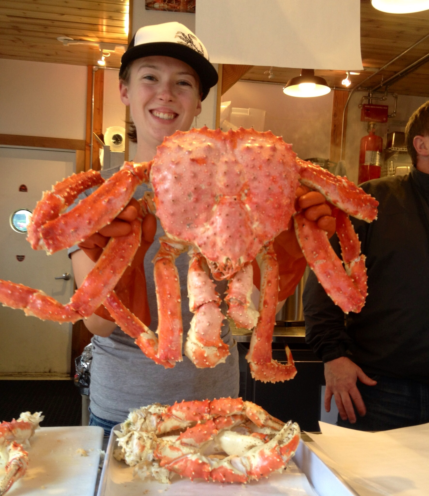 A huge king crab from Tracy's Crab Shack in Juneau, Alaska
