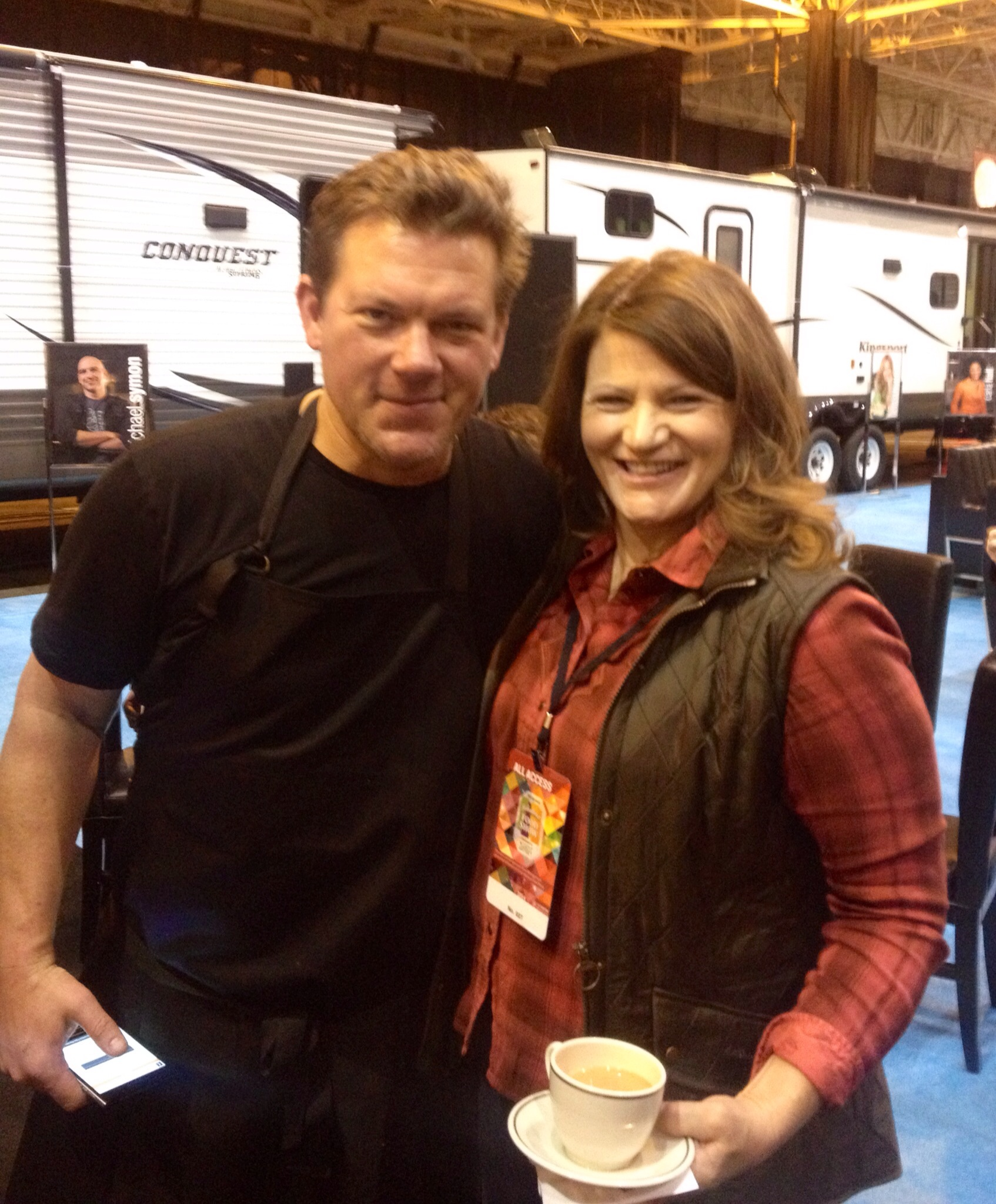 Tyler Florence and Martie Duncan talking at the Fabulous Food Show in Cleveland, Ohio