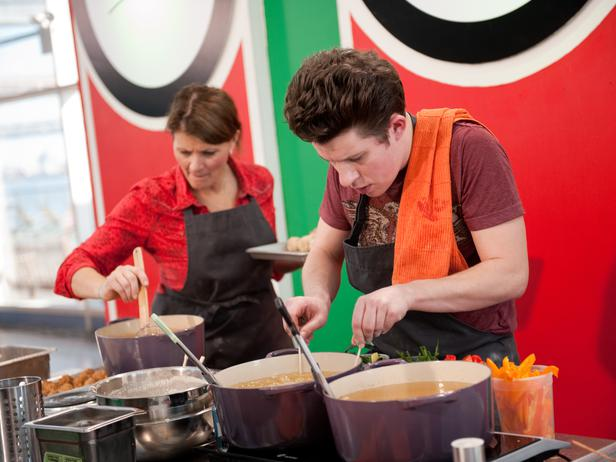 Making a lot of fried food in our pop-up restaurant with Justin Warner on Food Network Star season 8. Get his recipe for tempura batter below