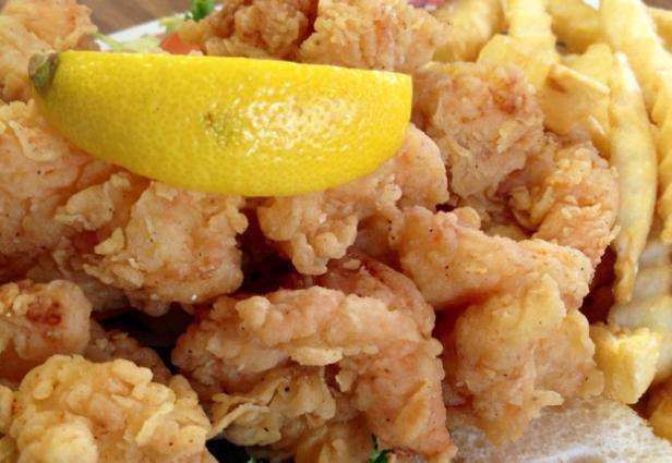 Fried Shrimp Po-Boy... Justin's tempura batter makes it light and airy. Not heavy.