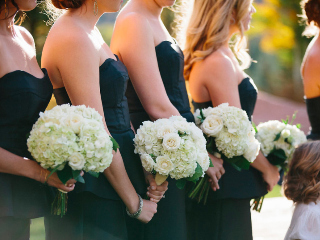 teal bridesmaid gowns with yellow and white