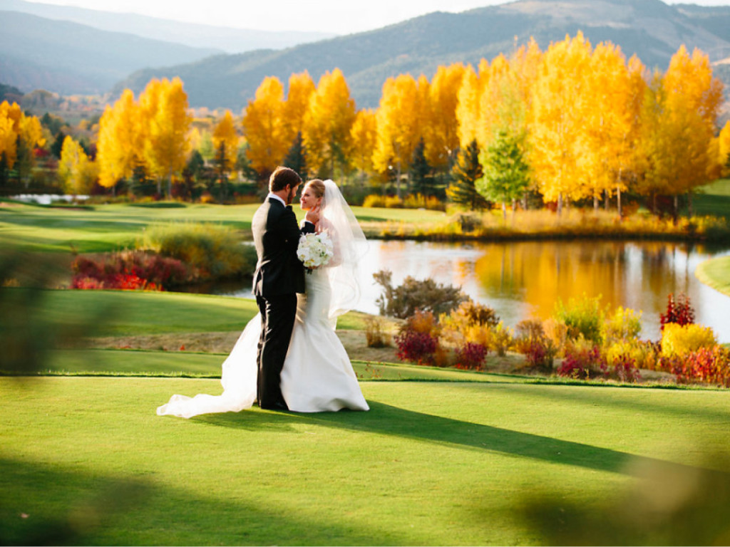 scenic outdoor wedding Aspen in fall