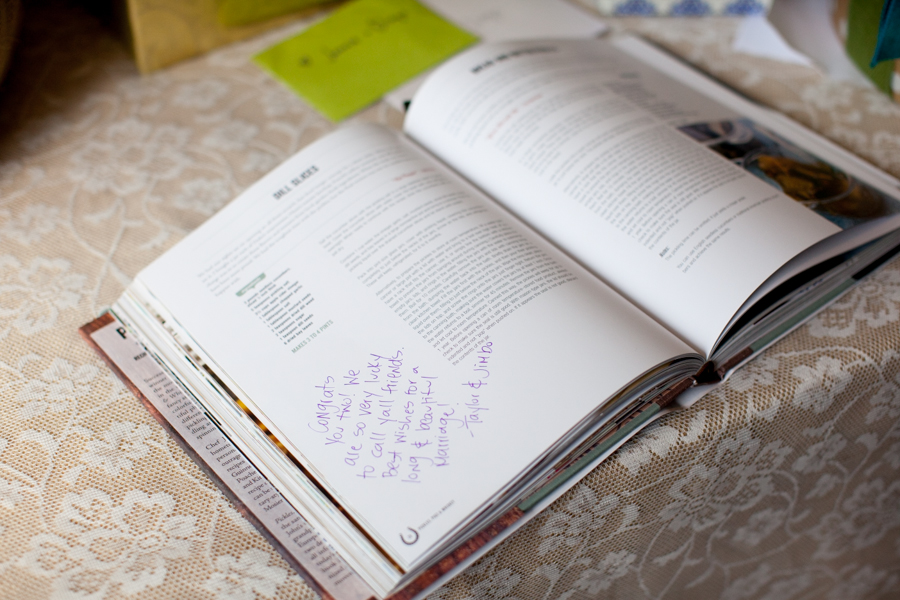 unique wedding guest book uses a cookbook