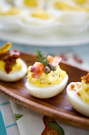 Deviled Eggs with toppings for a party