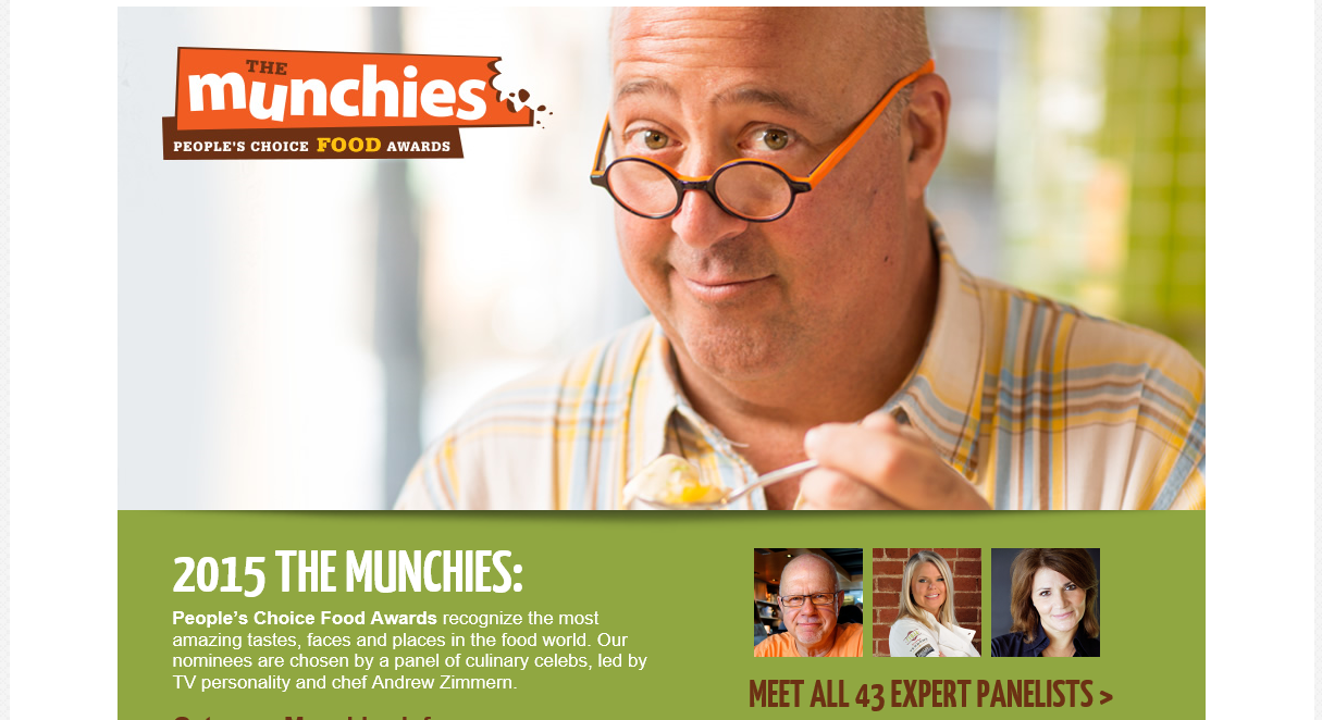 I've teamed up with General Mills and Andrew Zimmern for the 2015 Munchies People's Choice Awards! Thanks to Arden Photography for the fab headshot.