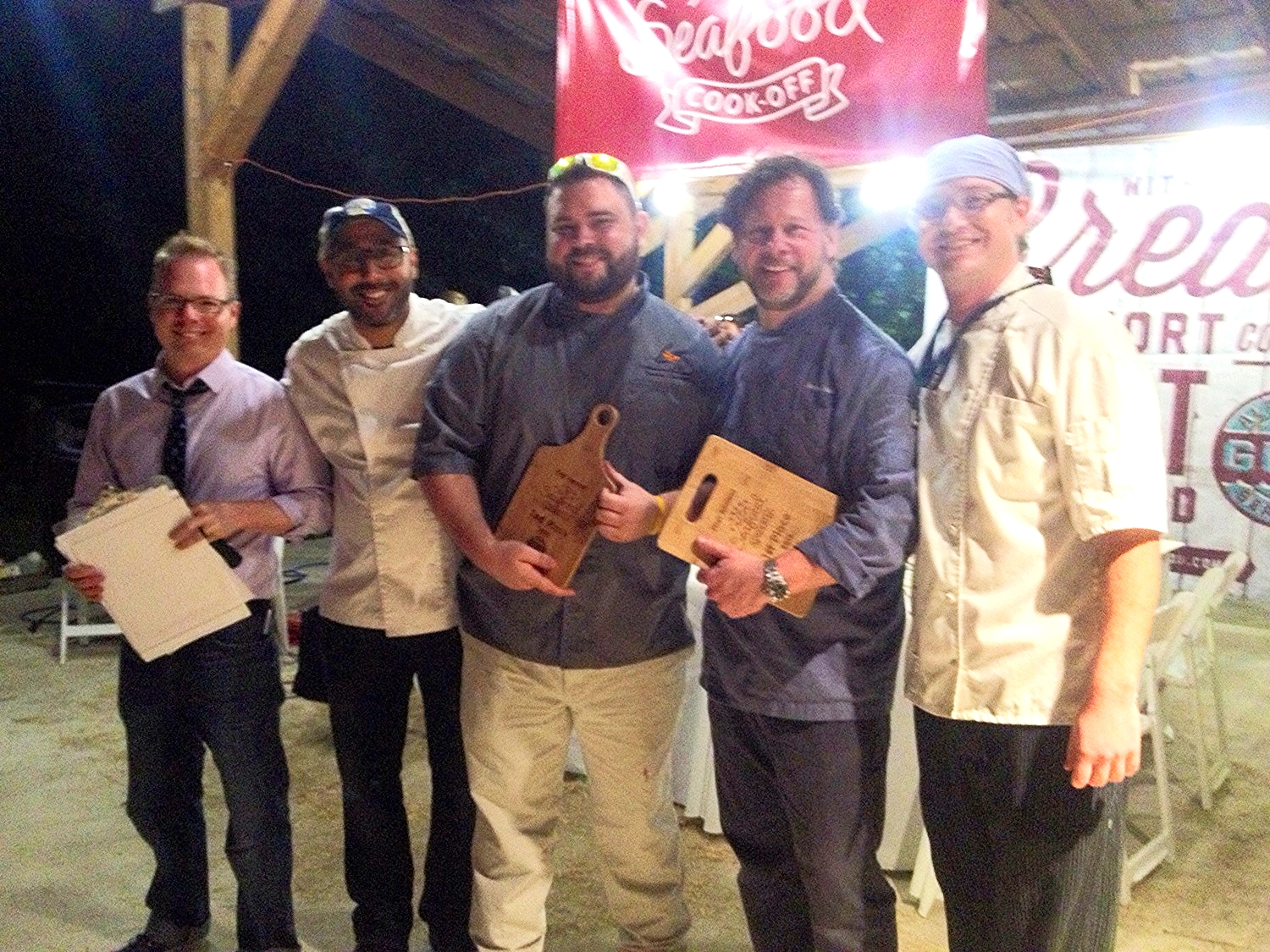 From left: Alabama Gulf Seafood Chairman Jim Smith, Chefs Miguel Figueroa, Chef Brandon Burleson, Chef George Reis, and Chef Brody Olive at the First Annual Alabama Gulf Seafood Cook-off.