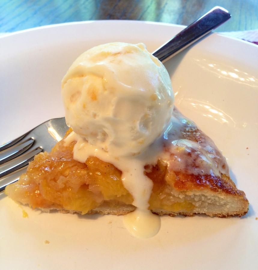 Double Peach pie and homemade peach ice cream