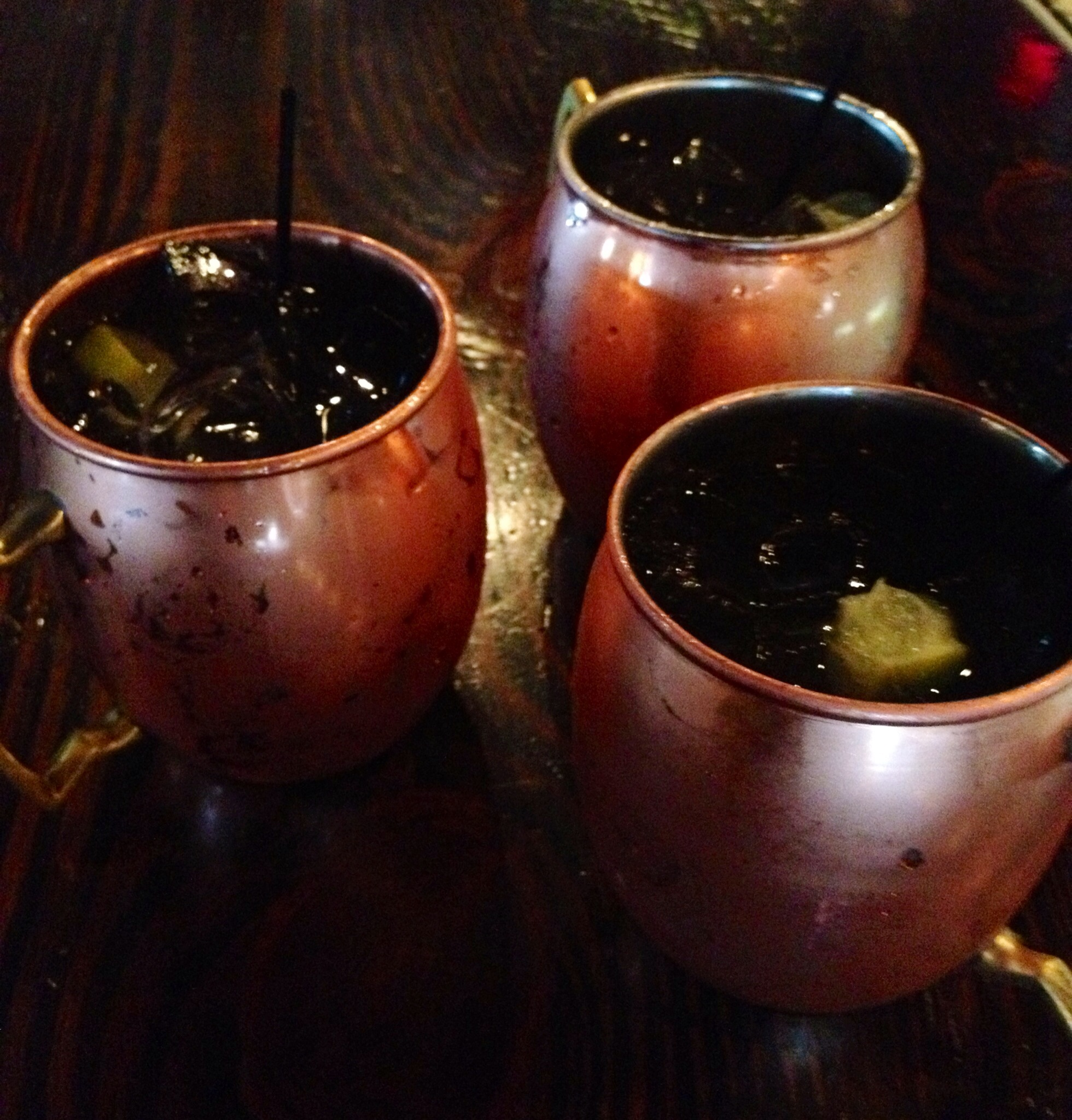 Moscow Mules in copper mugs