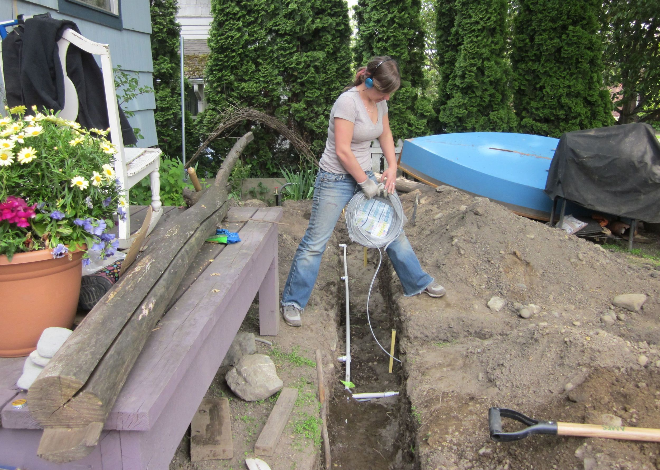 Digging trenches and doing electrical work, 2011