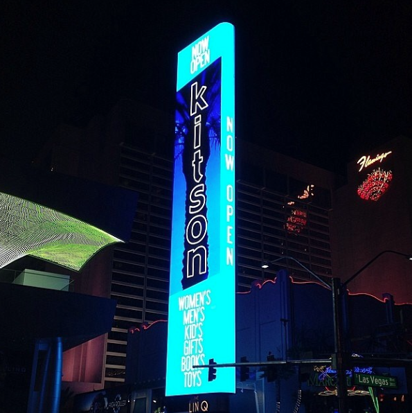 Large scale video marquee located at The Linq shopping center in Las Vegas Nevada. 2014.