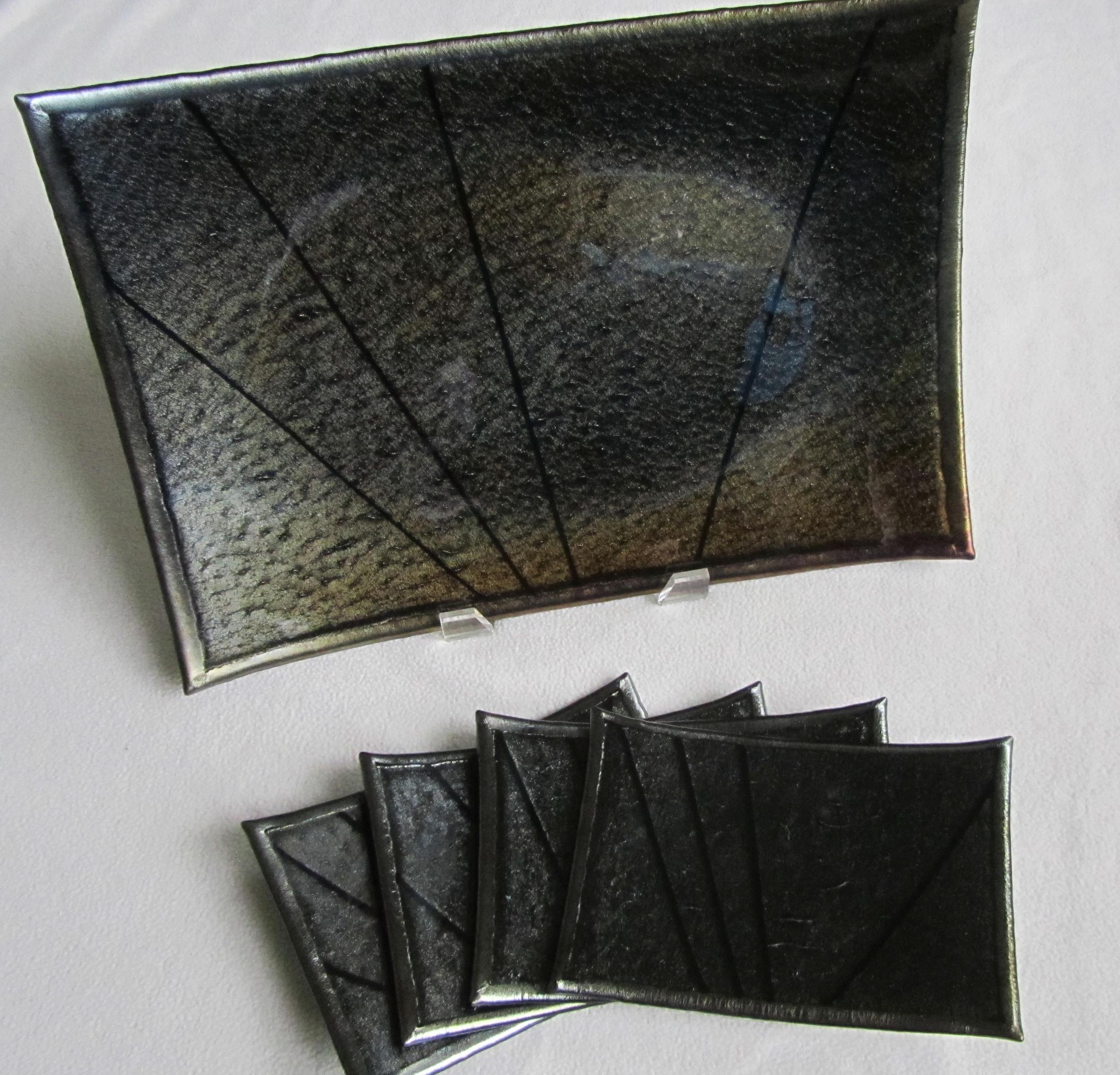 gold iridescent platter & plates