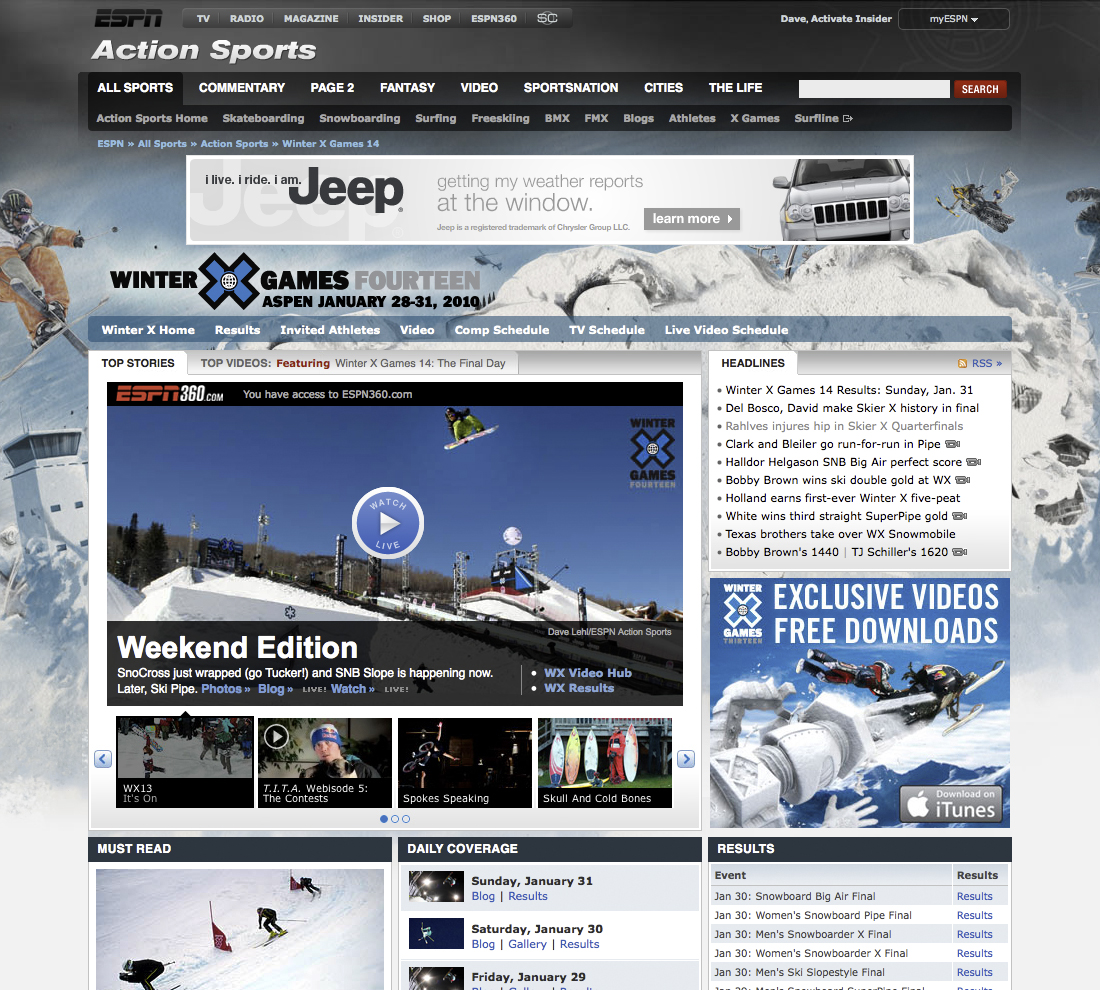ESPN.com Winter X-Games Front Page