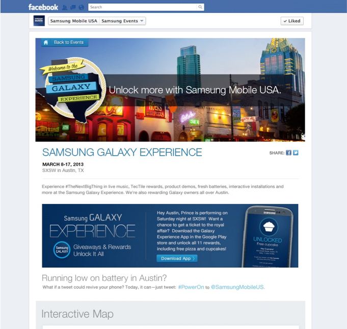 The SXSW program was promoted across Samsung's social media channels.