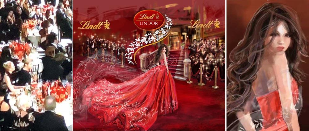 Artwork for Lindt box of chocolate at 75th golden globes awards